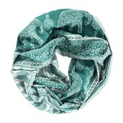 peach couture tribal paisley floral elephant animal print infinity loop scarf ,green,one size