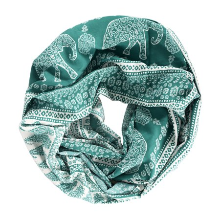 Peach Couture Tribal Animal Print Elephant Infinity Loop Scarf Green