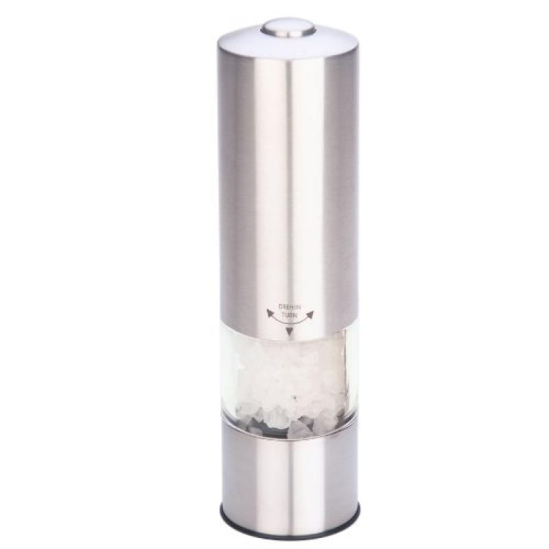 MIU France Stainless Steel Battery-Operated Salt Mill wit...