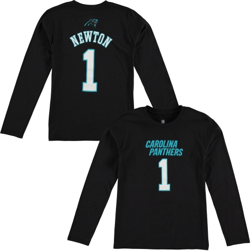 Cam Newton Carolina Panthers Youth Mainliner Name & Number Long Sleeve T-Shirt - Black - Yth XL