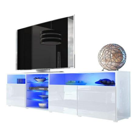 TV Stand Roma Matte Body High Gloss Doors Modern TV Stand LED, (White High Gloss Tv Stand Unit Cabinet)