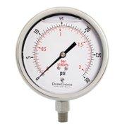 "4"" All Stainless Steel Oil Filled Vacuum Pressure Gauge - 1/4"" NPT Lower Mount, -30HG/15PSI"