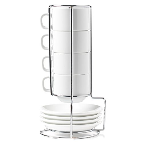 1 HUJI Stack-able Porcelain 4 Ounces Espresso Turkish Coffee Cups and Saucer with Chrome Rack
