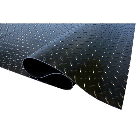 FlooringInc Commercial Grade Diamond Nitro Garage Roll 10' x 50' Midnight Black - Parking Pad- Floor Cover (500 sq/ft) Garage Floor Cover