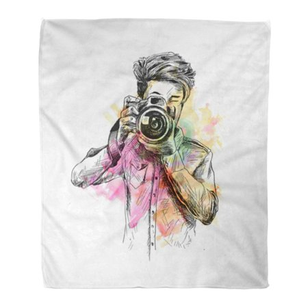 NUDECOR Throw Blanket Warm Cozy Print Flannel Colorful Holi of Male Photographer Camera Sketch Paparazzi Comfortable Soft for Bed Sofa and Couch 50x60 Inches - image 1 de 1