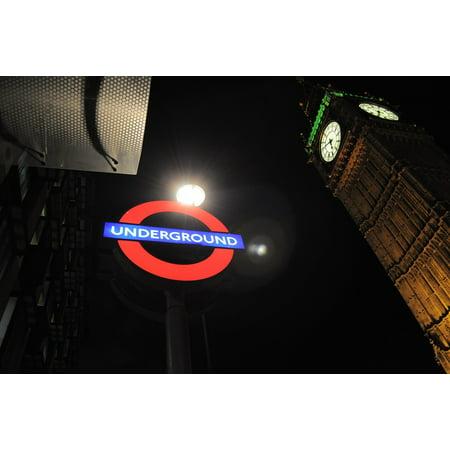 LAMINATED POSTER Big Ben Westminister Tube London Night Underground Poster Print 24 x 36 - Halloween London Underground