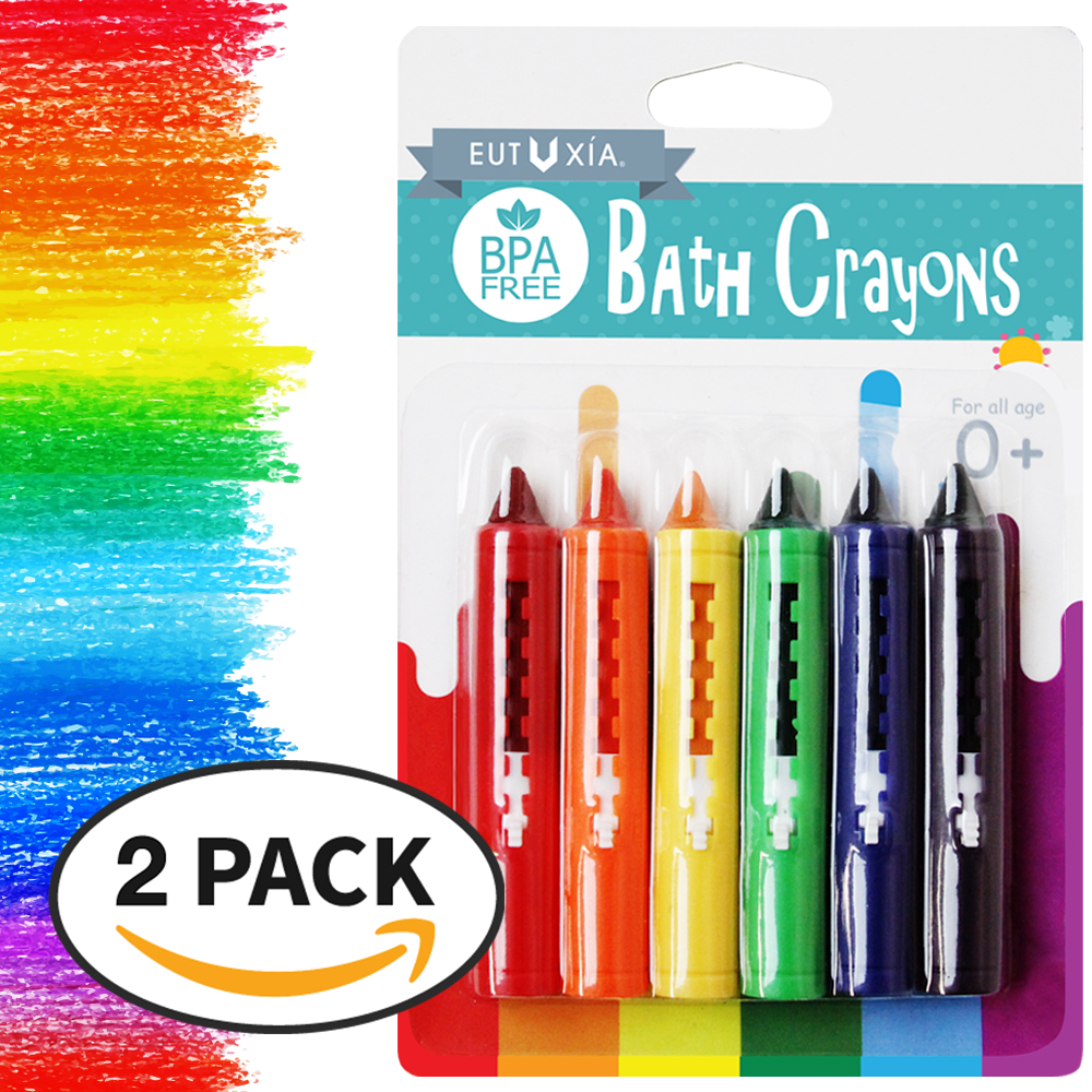 Eutuxia [New VER Baby Bath Crayons. Colorful Bathtub Toys for Kids, Toddlers. Draw & Scribble on The Tub. Children Bath Time Fun. Easily Washable, Retractable. Safe, Non-Toxic, BPA Free. [12 PK]