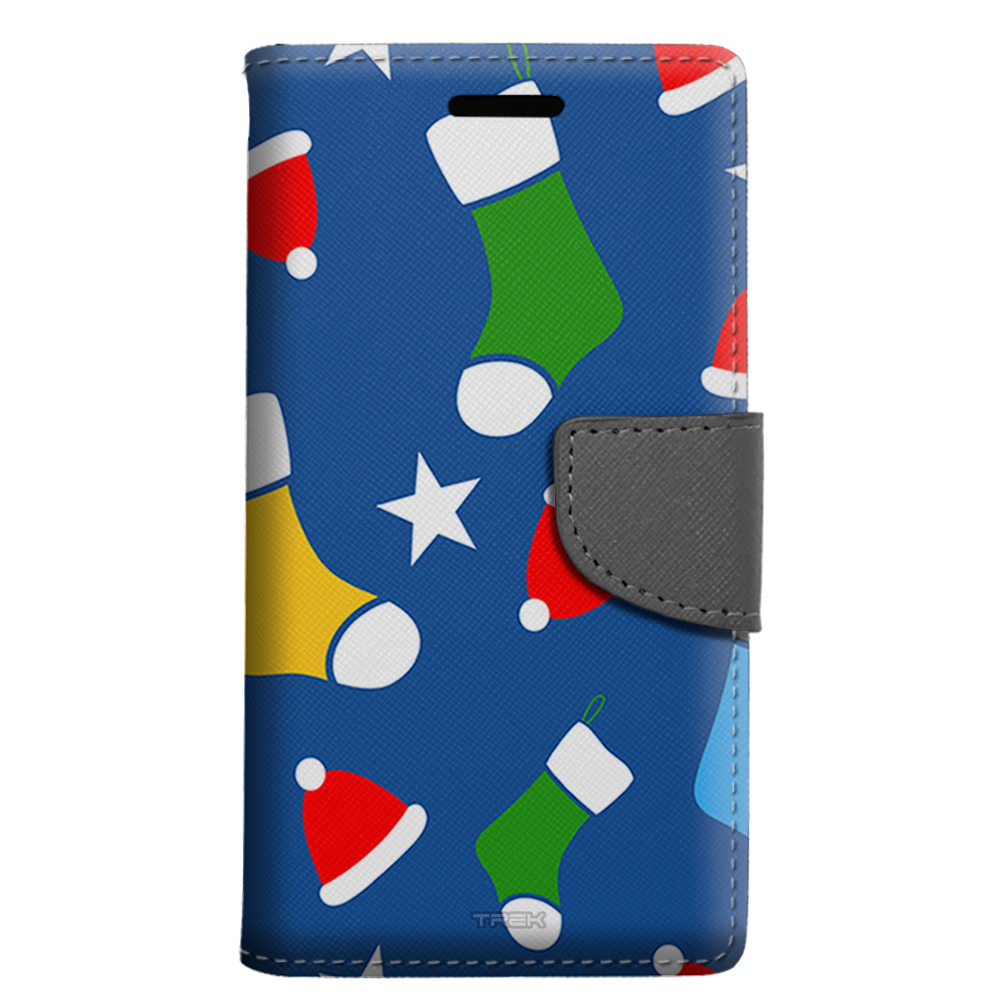 Alcatel Pulsemix Wallet Case - Colorful Christmas Stocking Pattern Case