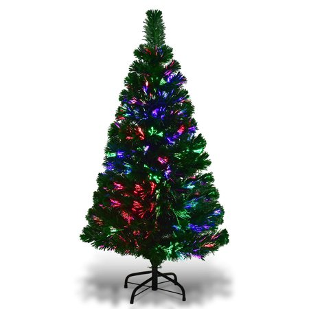 Gymax Fiber Optic 4'Artificia Christmas Tree PVC Material Metal Stand Holidy Decoration - Affordable Christmas Decorations