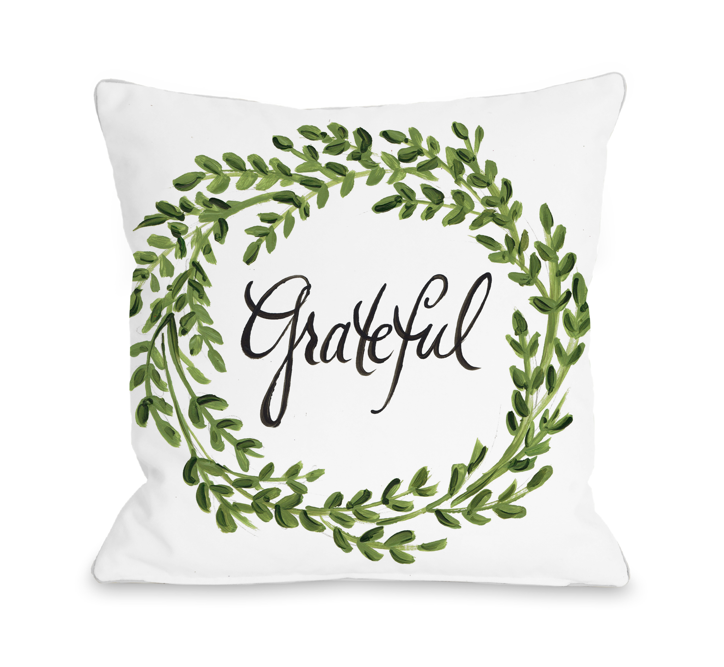 Grateful Leaf Wreath - Green 16x16 Pillow by Timree