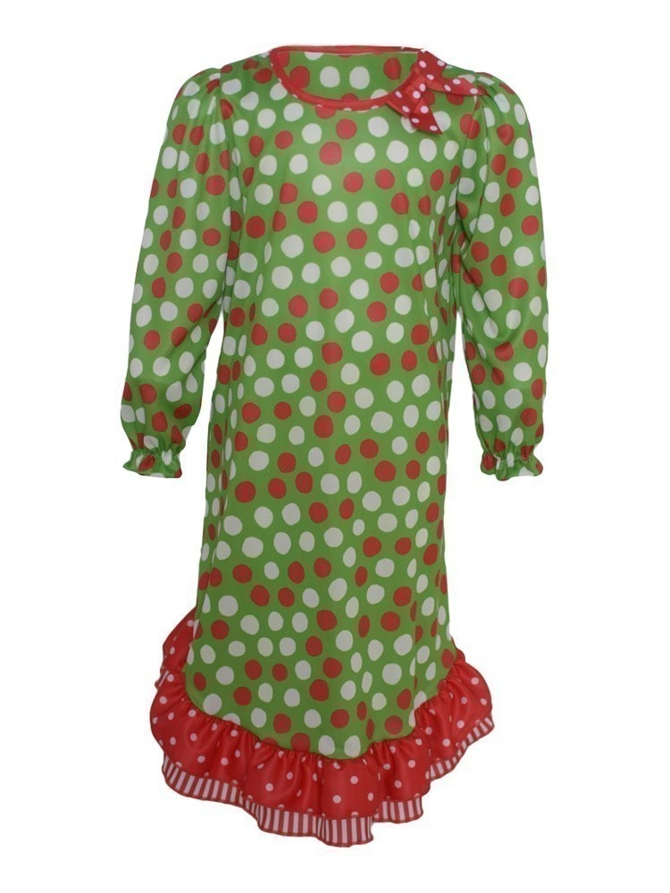 Toddler Girl Red Green Dot Stripe Ruffle Nightgown 2T
