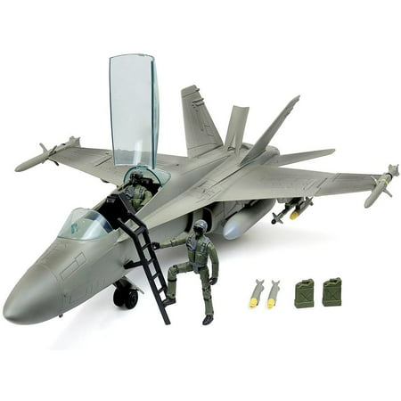 Click N' Play Military Air Force F/A 18 Super Hornet Fighter Jet, 16 Piece Play Set With Accessories