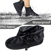 IClover 360 Degree Waterproof Rainproof PVC Fabric Zippered Shoe Covers Rain Boots Overshoes Protector Bike Motorcycle Anti-Slip Travel Women Men Kids Short Black XXL Size Sole Length:12.6''/US 12