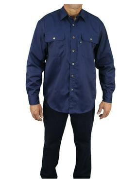 Kolossus Men's Lightweight Cotton Blend Long Sleeve Work Shirt with Pockets.
