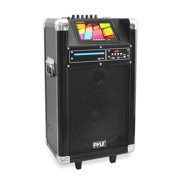 PYLE PKRK10 - Karaoke Vibe Portable Bluetooth Multimedia PA System with Built-in Rechargeable Battery, Wireless Microphone, 7 Display Screen, 10 Subwoofer, 400 Watt