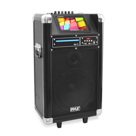 """PYLE PKRK10 - Karaoke Vibe Portable Bluetooth Multimedia PA System with Built-in Rechargeable Battery, Wireless Microphone, 7"""" Display Screen, 10"""" Subwoofer, 400"""