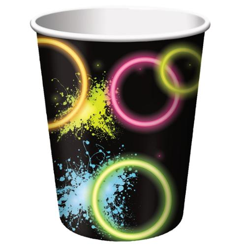 Club Pack of 96 Glow Party Disposable Paper Hot and Cold Drinking Party Cups 9 oz.