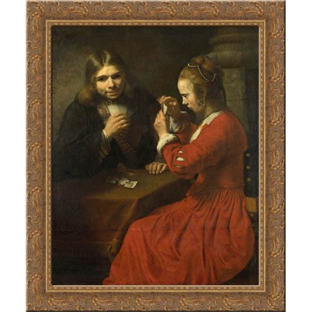 A Young Man And A Girl Playing Cards 20x20 Gold Ornate Wood Framed