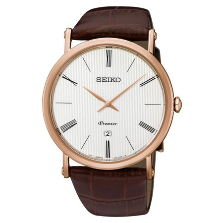 Seiko Men's Premier 41mm Brown Leather Band Rose Gold Plated Case Quartz White Dial Analog Watch SKP398