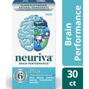 Neuriva Plus Brain Performance Supplement (30 count), Brain Support With Clinically Proven Natural Ingredients (Coffee Cherry & Plant Sourced Phosphatidylserine)