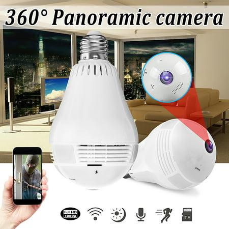 Wireless 1080P Mini Panoramic Fish Eye WIFI 360 Degree Wireless Camera LED Light Bulb IP Camera Lamp Night