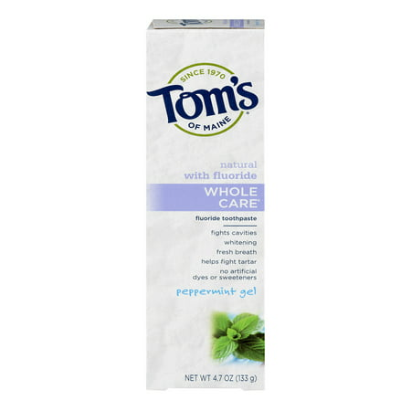 Toms Of Maine Whole Care Toothpaste With Fluoride Peppermint Gel  4 7 Oz