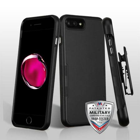 For iPhone 7 / 8 Plus Black TUFF Contempo Hybrid Cover w/Horiztonal Holster