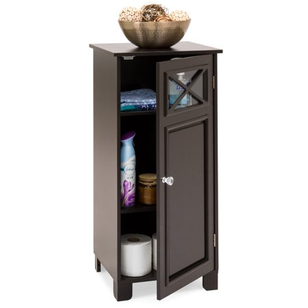 Best Choice Products 3-Tier Wooden Floor Cabinet for Home & Bathroom Storage and Organization with Adjustable Shelves, Door,