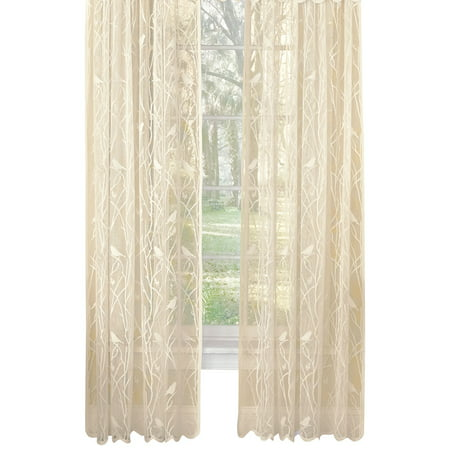 - Songbird Rod Pocket Lace Curtain Panel with Scalloped Hem, 56