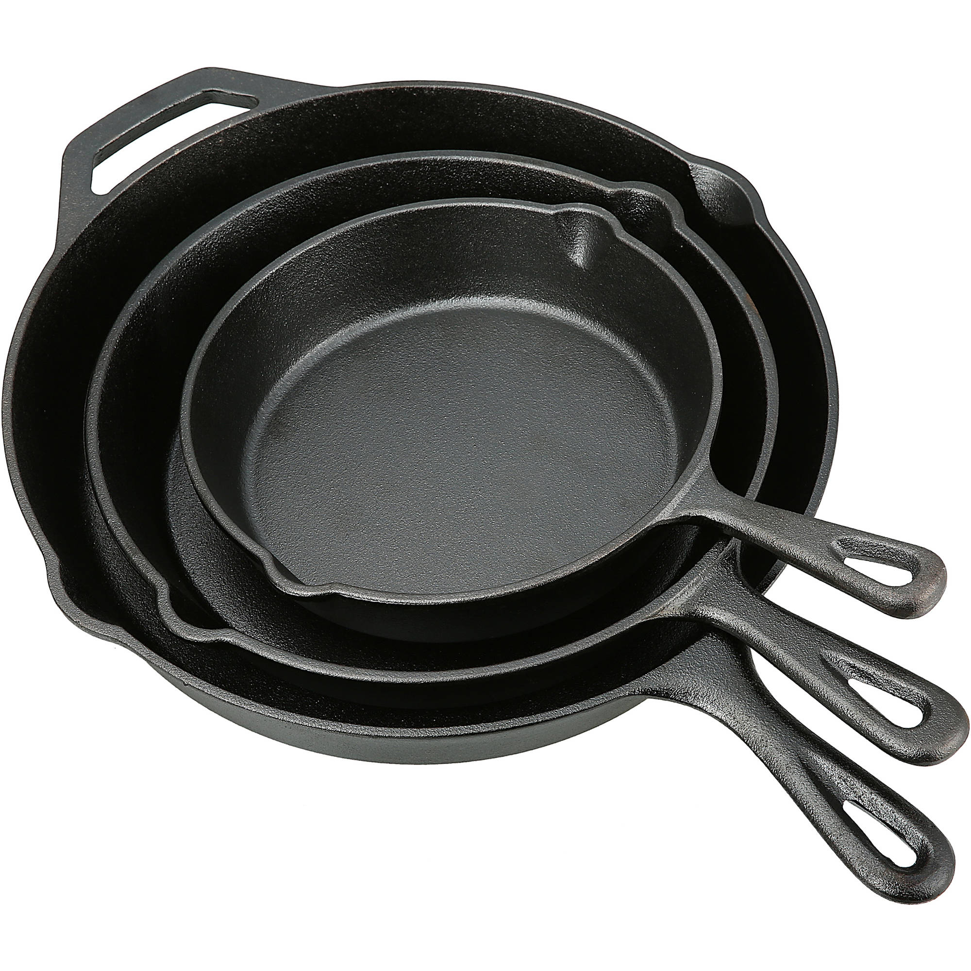 Ozark Trail 3 Piece Seasoned Oil Cast Iron Skillet Set