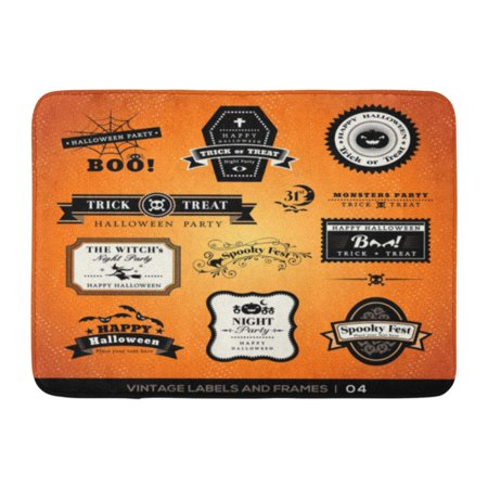 GODPOK Tag Treat Collection Halloween Labels Frames Retro Vintage Styled Design Badge Trick Rug Doormat Bath Mat 23.6x15.7 inch](Halloween Classroom Door Designs)