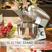 Electric Food Stand Mixer 6 Speed 6.3Qt 650W Tilt-Head Stainless Steel Bowl in Silver