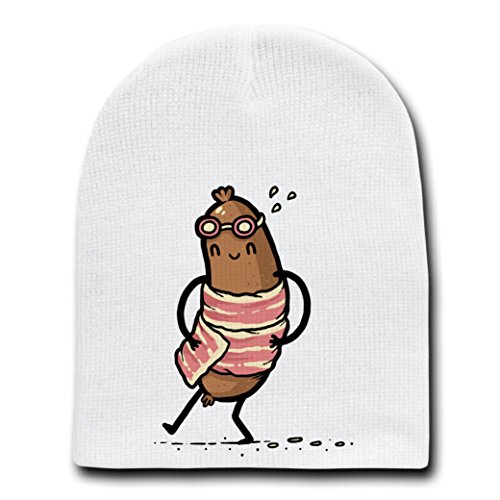 """Bacon Towel"" Meat Wrapped Humor White Beanie Skull Cap Hat by"