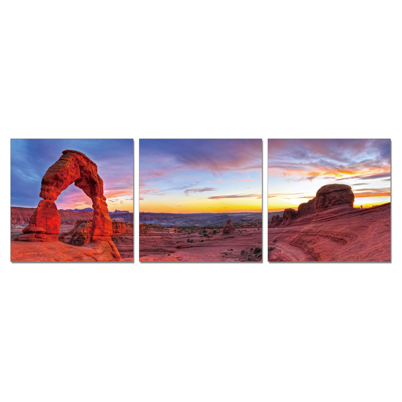 Furinno SENIC Declicate Arch 3-Panel Canvas on Wood Frame, 60 x 20-in