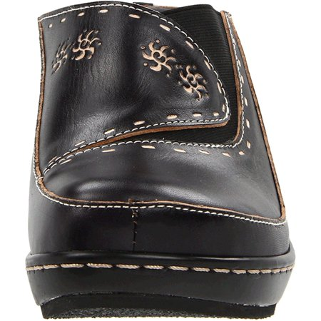 L'Artiste Women's Chino Fashion Clogs Black Leather Rubber 38 M EU 7.5-8 M