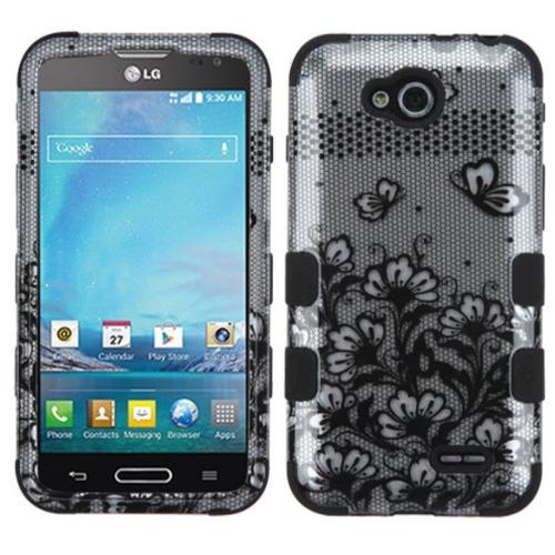 Insten Black Lace Flowers TUFF Hybrid Hard Phone Case Shell For LG D415 Optimus L90