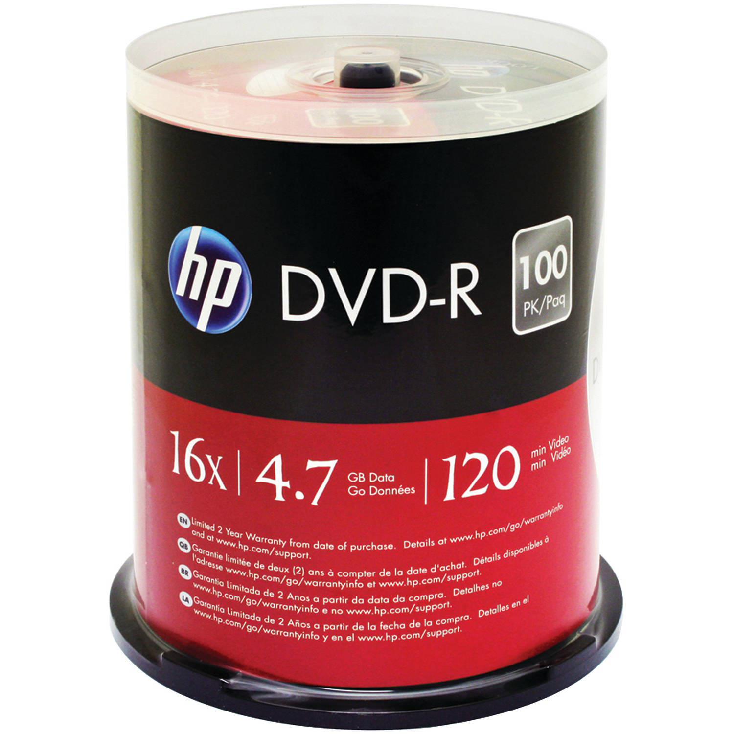 HP Dm16100cb 4.7GB DVD-rs, 100-ct Spindle