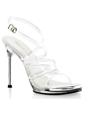 e78c2cf6745f Product Image womens clear strappy jelly sandals with 4.5   silver chrome  heels dress shoes