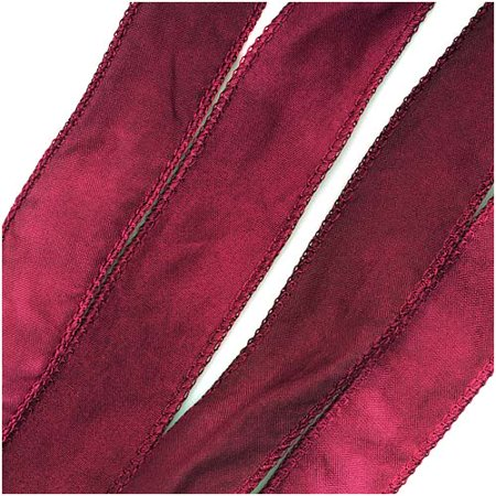 Silk Fabric Flat Silky Ribbon, 2cm Wide, 42 Inches Long, 1 Strand, Raspberry Pink