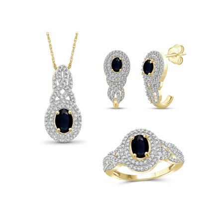 Gold Sapphire Set (2 3/4 Carat T.G.W. Sapphire And White Diamond Accent 14k Gold Over Silver 3-Piece Jewelry)