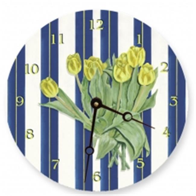 Lexington Studios 23088R Y Yellow Tulips Round Clock by Lexington Studios