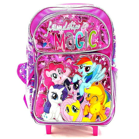 My Little Pony Girls 16 Pink School Rolling Backpack Friendship is Magic