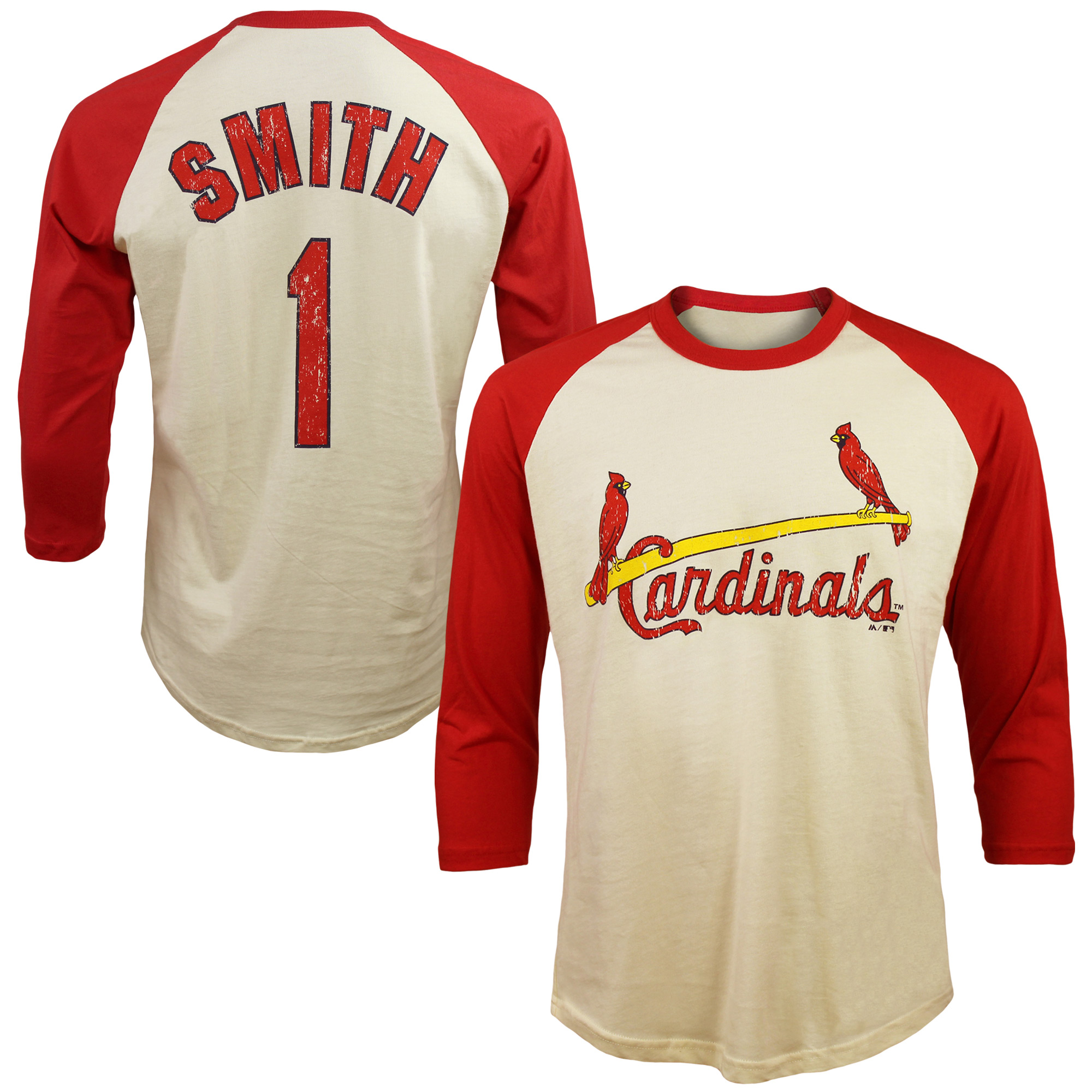 Ozzie Smith St. Louis Cardinals Majestic Threads Softhand Cotton Cooperstown 3/4-Sleeve Raglan T-Shirt - Cream