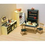 Melissa & Doug Classic Wooden Dollhouse Kitchen Furniture (7 pcs) - Buttery Yellow/Deep Green