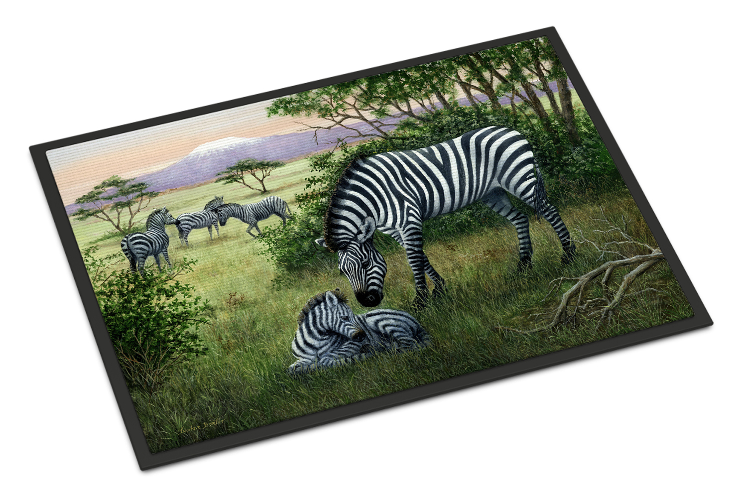 Zebras in the Field with Baby Doormat by Caroline's Treasures