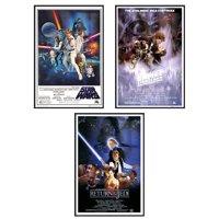 """Star Wars Episode IV, V & VI - Framed 3 Piece Movie Poster / Print Set (3 Regular Style Posters - Version 2) (Size: 24"""" x 36"""" each)"""