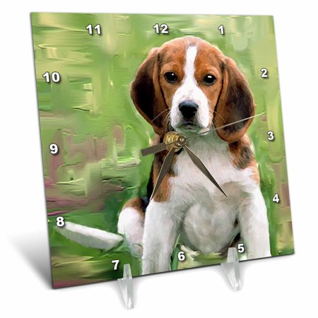 3dRose Beagle Puppy - Desk Clock, 6 by - Beagle Clock
