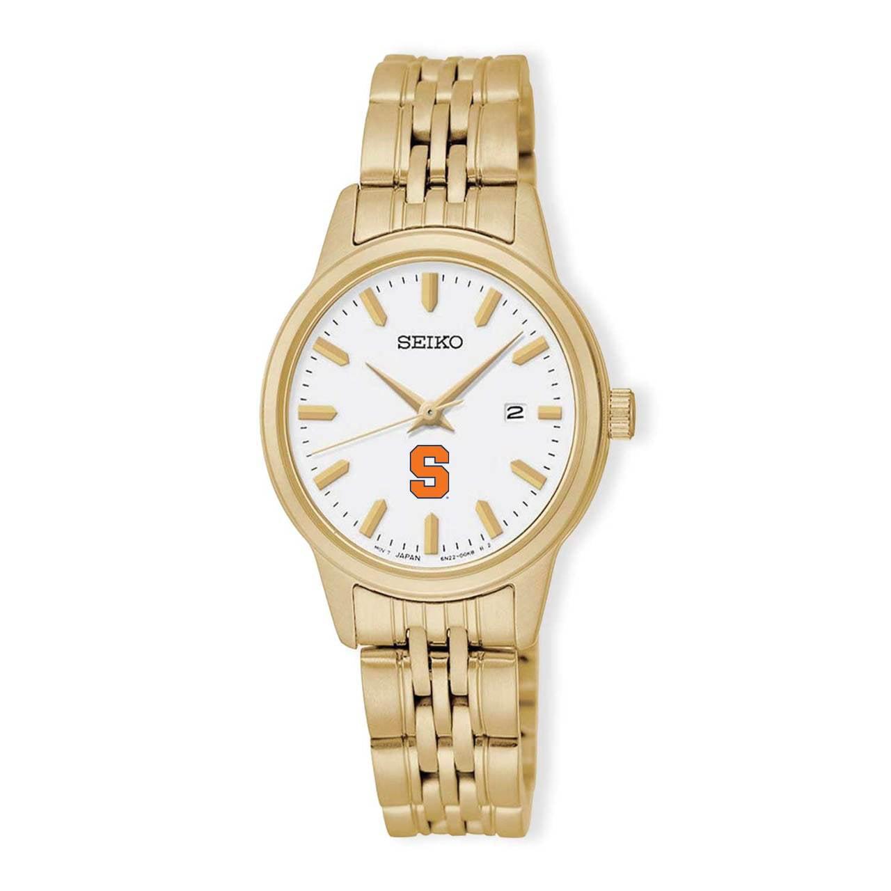 Syracuse Orangemen Seiko Quartz White Dial Gold-Tone Women's Watch