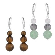 Shop LC Drop Dangle Earrings Shop LC Set of 2 White Stainless-steel Round Multi Fluorite Lever Back Engagement Wedding Anniversary Bridal Stainless Steel Jewelry For Her