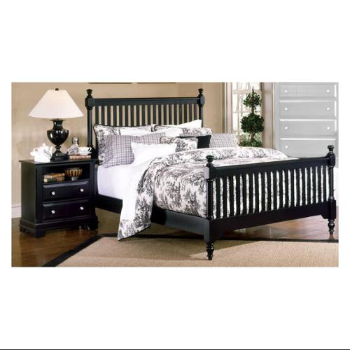 Slat Poster Bed w Nightstand in Black Finish (Queen)